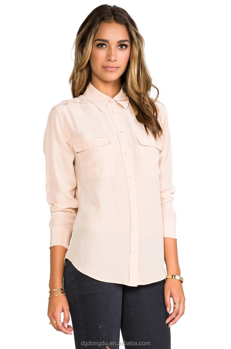 Business Casual Blouse - Blue Denim Blouses