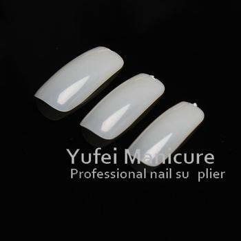 500x Long Clear Square False Nails Full Cover Salon Fake French Free Glue