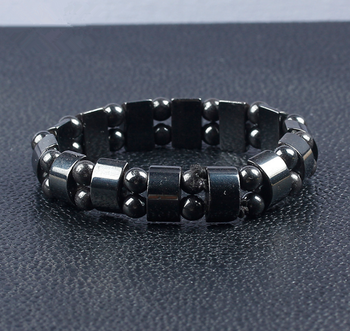 High quality health jewelry black magnetic hematite stone therapy beads bracelet for men women