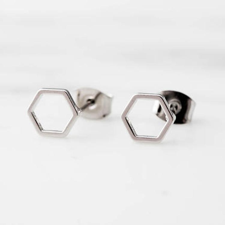 Simple Hexagon Sterling Silver 925 Ear Stud