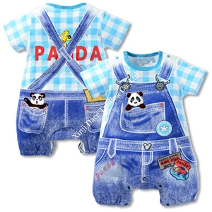 Wholesale newborn baby clothes 100% cotton jeans printing rompers