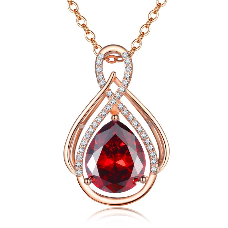 Wholesale Top Quality Jewelry Necklace Imitation Garnet Rose Gold Cubic Zirconia Pendant Neckalce Love's Fire Flame Necklace