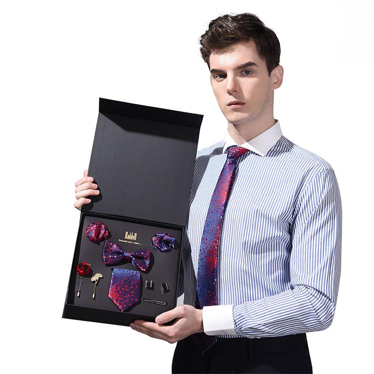 Премиум Мужской подарочный галстук набор галстук-бабочка карманные квадраты Зажимы для галстука шелковый галстук для мужчин