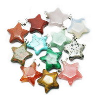 8 Color Silver Plated BuckleFive-Pointed Star Natural Stone Pendant