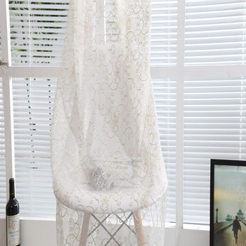 new home fashion hanging embroidered white sheer curtains dubai