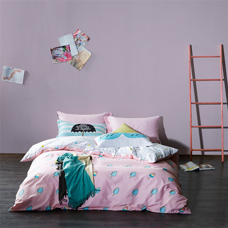 Latested Design Popular Comforter King Size 100% Hot Cartoon Kid Child Printed Bedding Set Ice cream