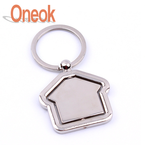 Rotating house metal key chain for real estate promotional can be customized logo