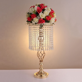 Exquisite wholesale wedding banquet crystal gold silver table centerpiece
