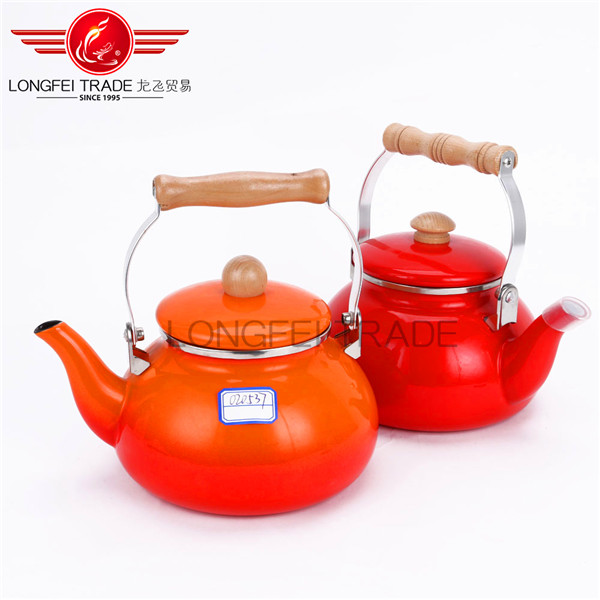 2.3L Foctory direct cast iron enamel tea whistling kettle with wooden handle