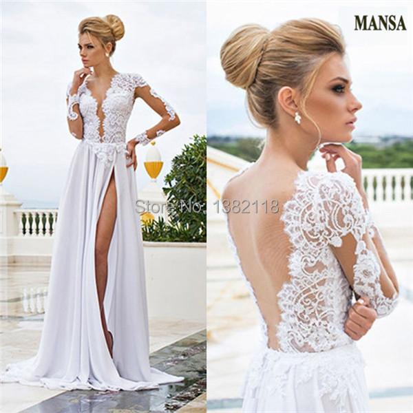 Simple Elegant Open Back Long Sleeve Wedding Dress: Aliexpress.com : Buy MANSA Elegant V Neck Open Back Top