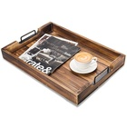 Torched Wooden product Food Serving Rustic ottoman tray with Modern Black Metal Handle,rectangular western cake coffee tea plate