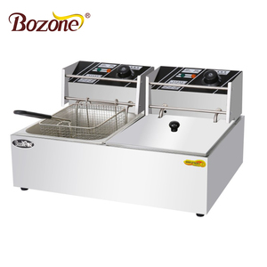 Stainless Steel French Fries Machine 2 tank 2 basket 2 L Commercial Potato Chip Fryer Electrical /Gas Deep Fryer