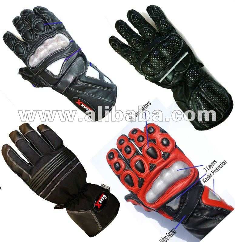 Motorbike Motorcycle Leather Gloves Knuckle Protection CE approved