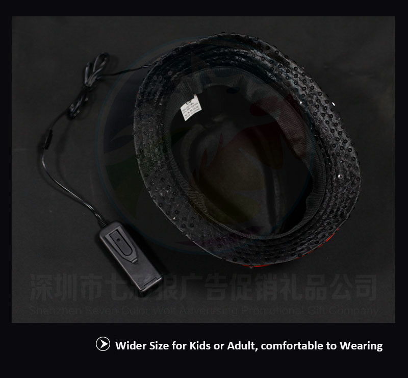 Fashional 100% Cotton Flashing EL Wire LED Hat For Night Show Wearing 3V Portable Controller Dancing  Party EL Wire Hat