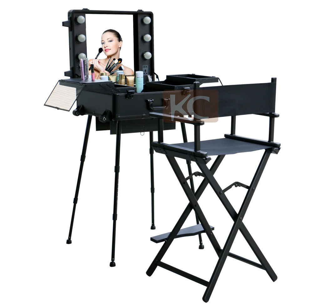 Portable makeup chair - Silver Black Lightweight Portable Aluminum Metal Makeup Chair Cosmetic Chair Makeup Artist Chair