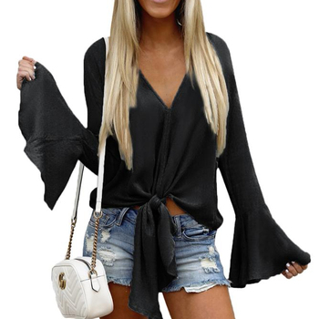 Black Bell Sleeves Tie Front V Neck Blouse Blusas Ropa Mujer Flare Sleeve Sexy Women Shirt Top