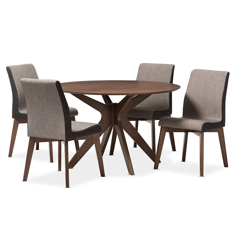 Svitlife Mid-Century Medium Brown Wood Round 5-Piece Dining Set 5 Piece Set Dining Mid Century Modern Table Chairs Style