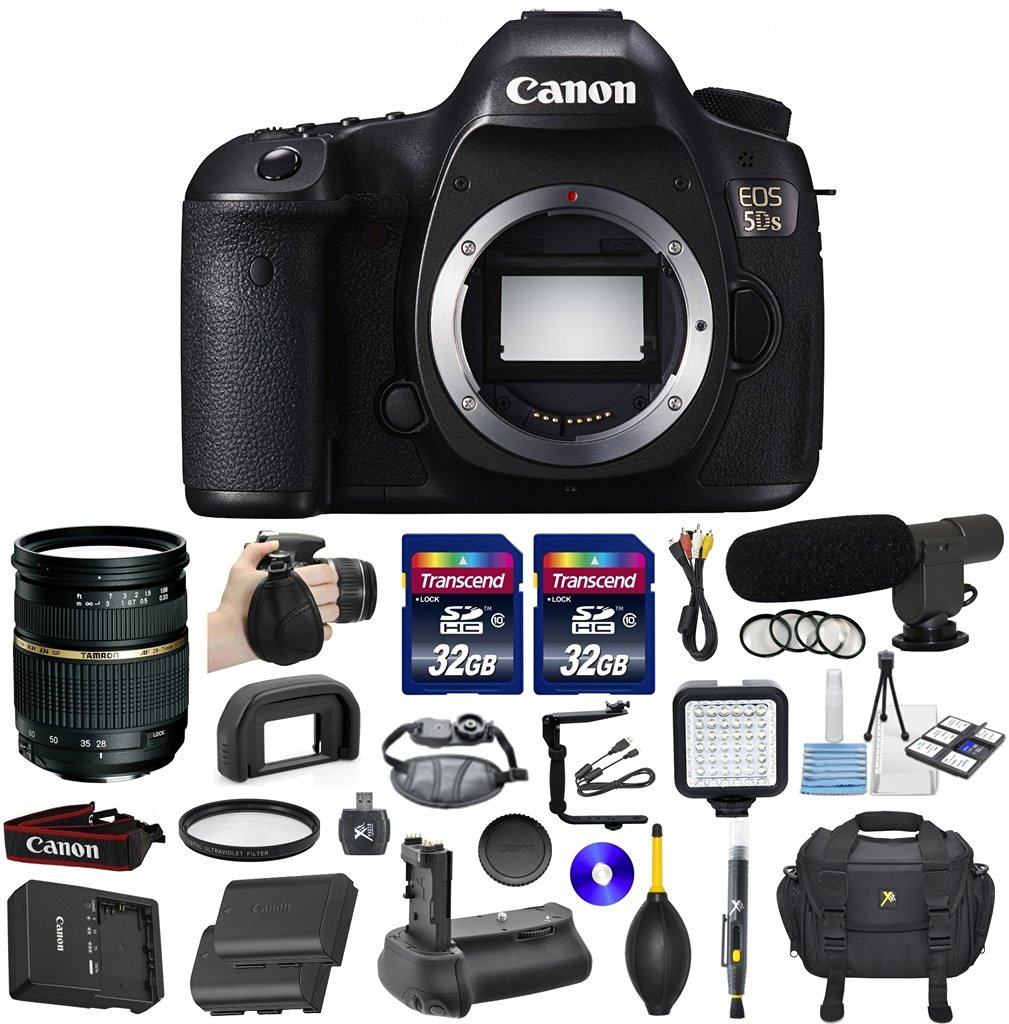 Canon EOS 5DS Full Frame CMOS Digital SLR DSLR Camera Bundle with Tamron AF 28-75mm f/2.8 Autofocus Lens & 2 Pieces Transcend 32GB High Speed SDHC Memory Cards + Video Accessory Kit (20 items)