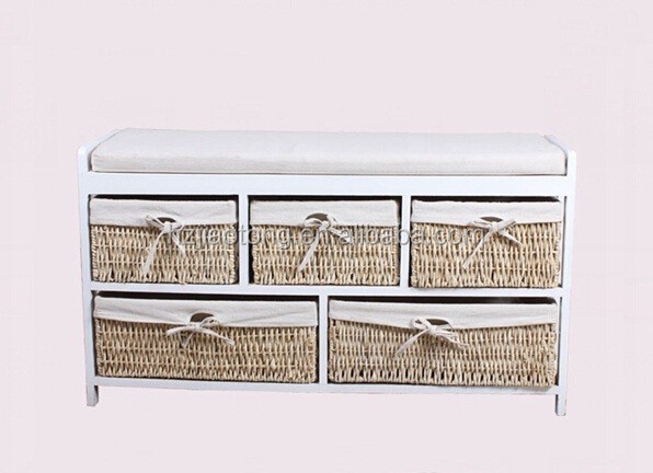 porte d 39 entr e long banc chaussures montage tabouret avec panier en osier et coussin tabourets. Black Bedroom Furniture Sets. Home Design Ideas