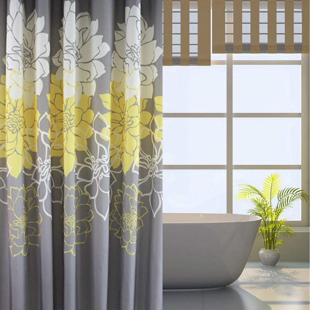 Buy HOMEIDEAS Shower Curtainwith HooksPolyester Fabric72x78 InchYellowGrayWhiteFloral In Cheap Price On Malibaba