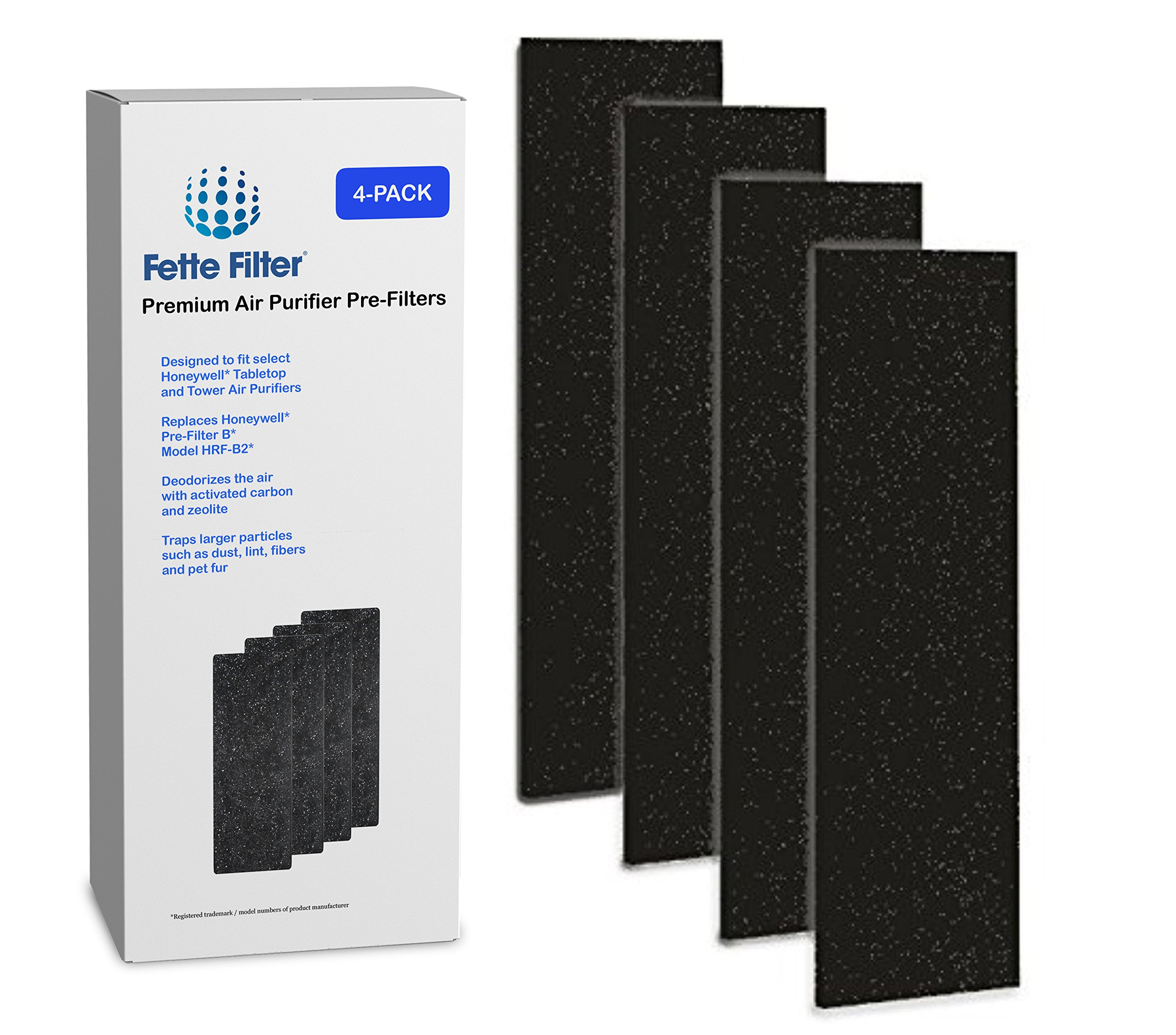 Fette Filter 4-Pack Air Purifier Pre-Filters. Compatible with HRF-B2 and HRF-B1 Filter B.
