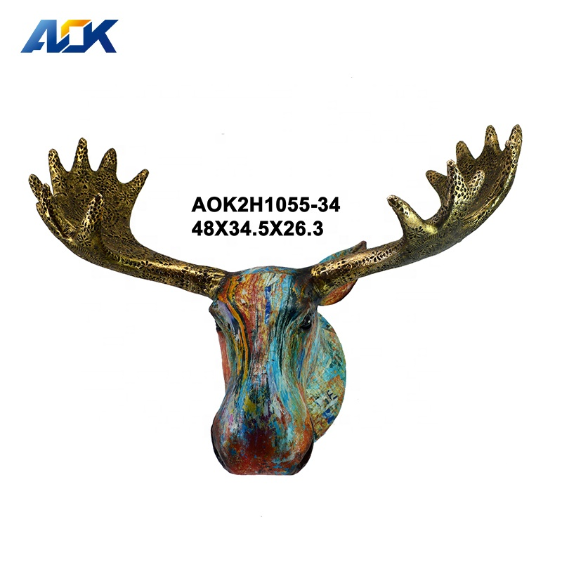 Craft Gift Wall Hanging Ornaments Resin Deer Animal Head Wall Mount