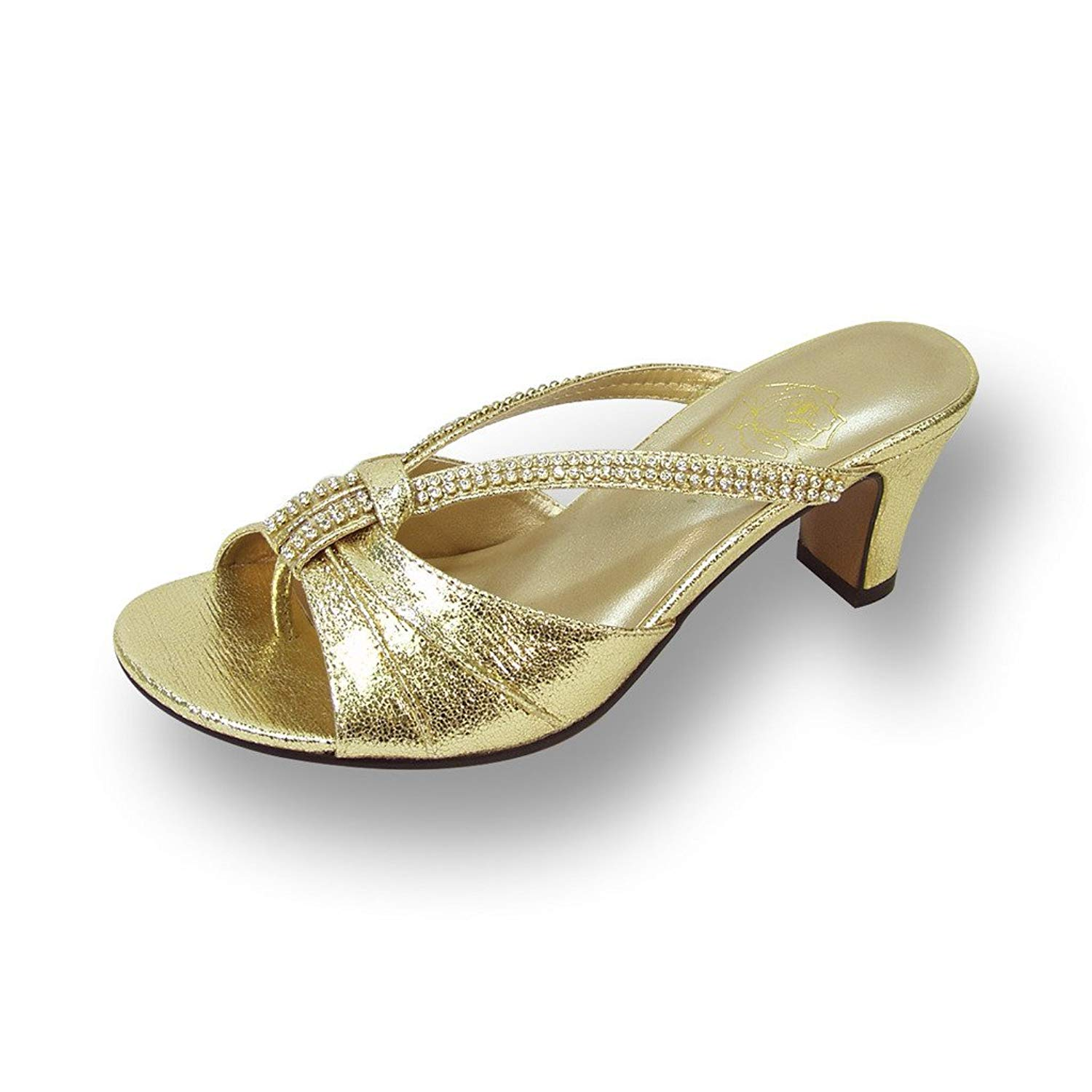 e11c3c607bfd5b Get Quotations · Floral FIC Chrissy Women Wide Width Shiny Slip On Heeled  Dress Sandals (Size/Measurement