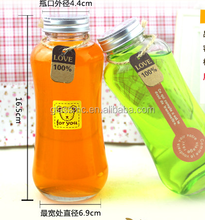Glass Square Round Food Grade Fresh Fruit Juice Glass Bottle with Metal Screw Cap/Plastic Cap