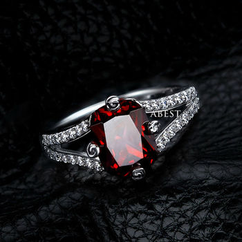 Emerald-Cut Lab-Created Ruby Charming Vintage-Style Ring in Sterling 925 Silver