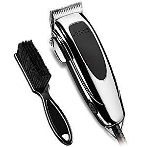 Andis Speedmaster II Adjustable Blade Hair Clipper, Silver/Black (24145) With BeauWis Blade Brush