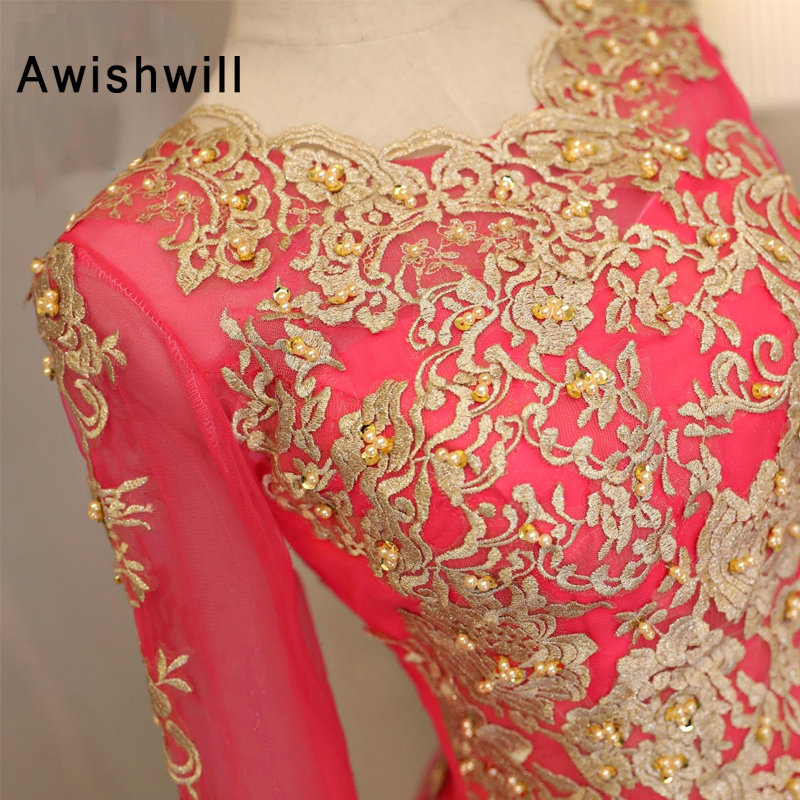 Custom Made Gold Lace Hot Pink Ball Gown Prom Dresses 2018 New Style Floor  Length Long Party Dress Gown Sweet 16 Dresses bf429c14adcf