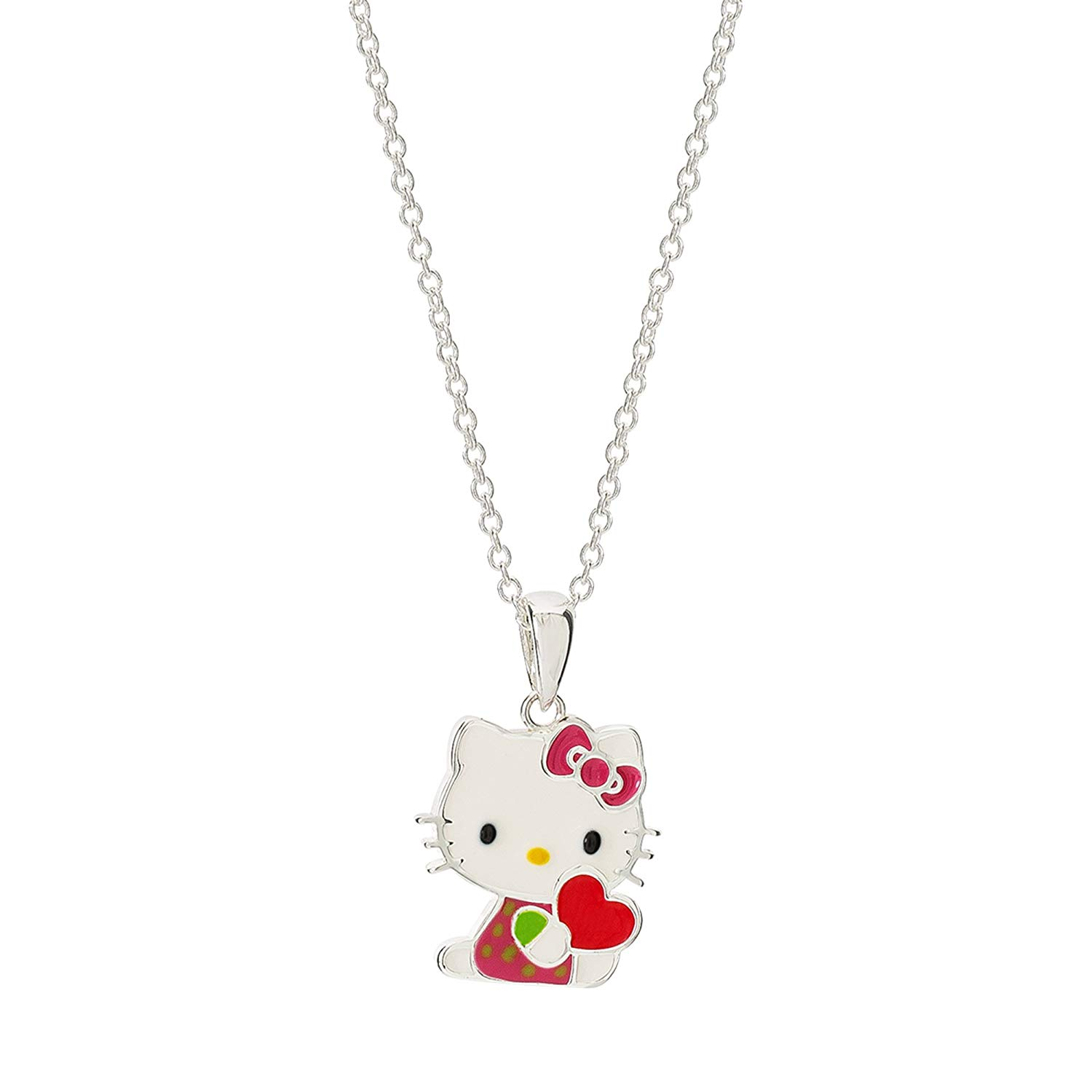 854fa275d Get Quotations · Hello Kitty Silver Plated Enamel Kitty with Heart Pendant  Necklace