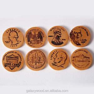 China Manufacturer 23mm Custom Engraved Printed Wooden Coins