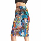 Moshiner Polyester Spandex Full Printed Painting Wholesale Long Denim Skirts