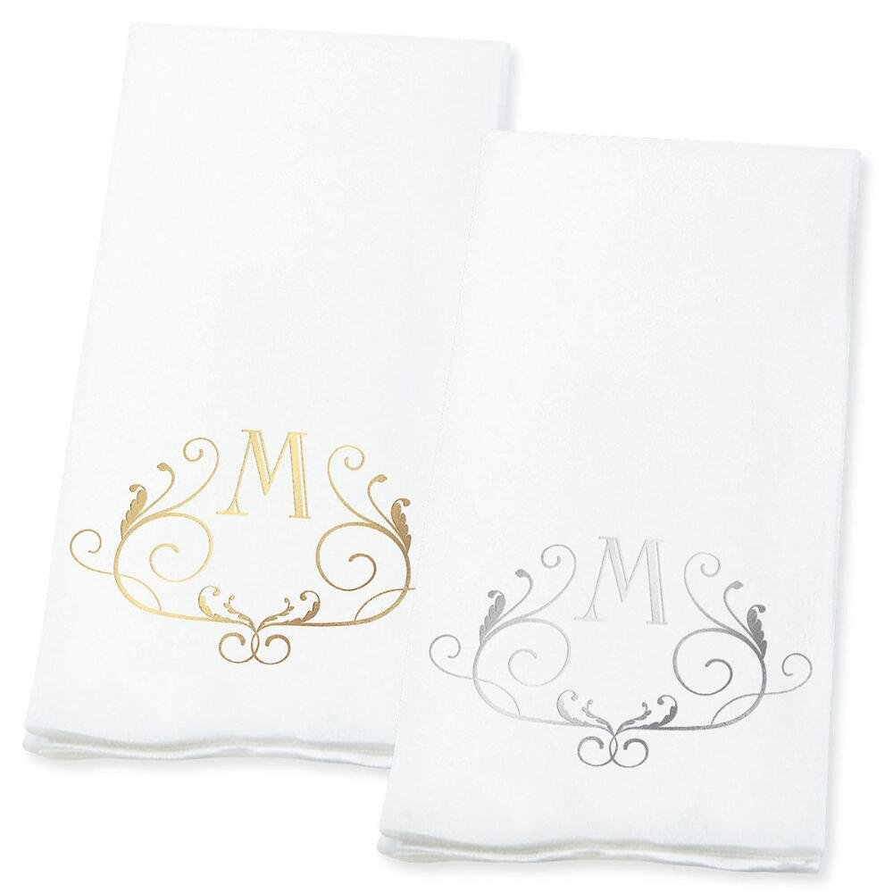"Lillian Vernon Scroll Personalized Monogram Line-Like Hand Towels (Set of 100)- 50% Cotton 50% Paper Blend, 13"" by 17"" Open and 4 1/2 by 8 1/2 Closed, Weddings, Anniversary, Dinner Party Supplies"