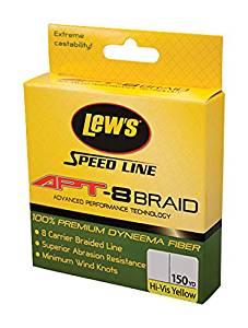 """Lew's Fishing Lews Fishing Apt-8 Braid Speed Line, 150 yd, 0.007"""" Diameter, 20 Lbs Breaking Strength, Yellow"""