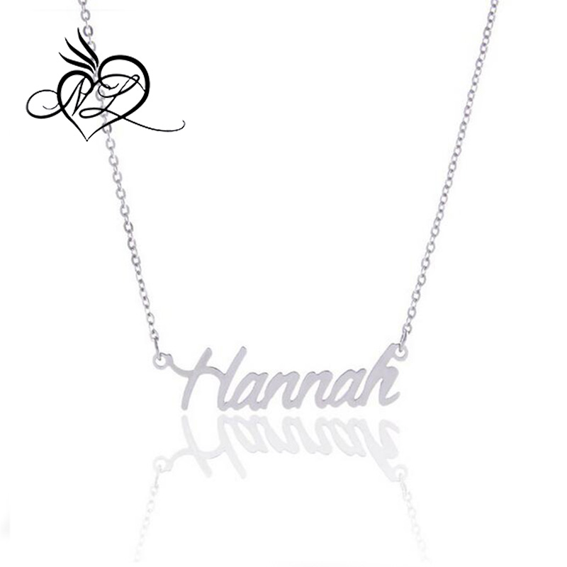 Silver Personalized Customized Hannah Letters Name Necklace, Hannah