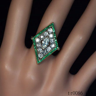 Fashion Wholesale An Art Deco Rhombus Shaped Diamond and Emerald Ring