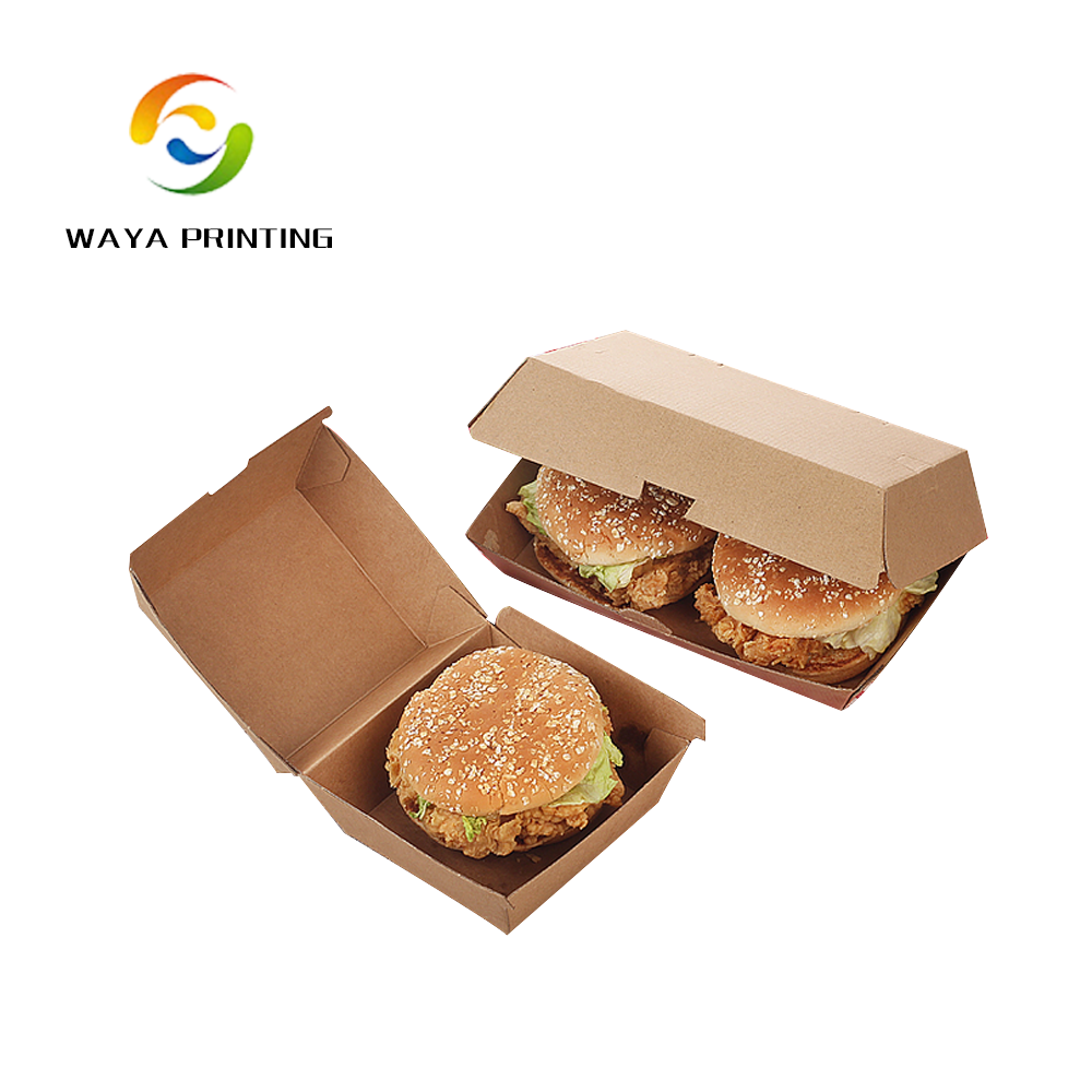 Disposable custom take away paper burger box