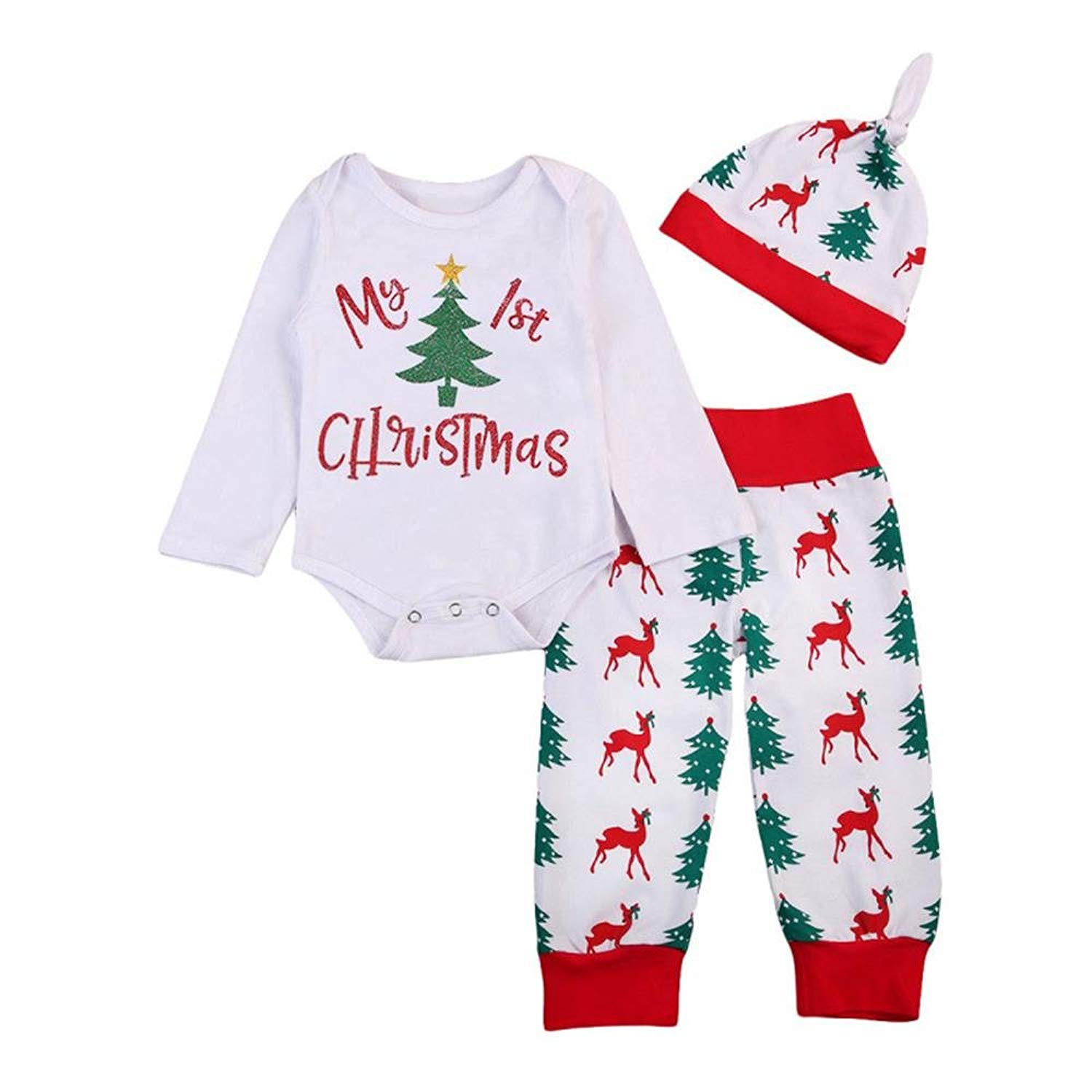 ef322b48ca6 Get Quotations · 3Pcs Newborn Infant Baby Girl Boy My First Christmas Long  Sleeve Romper + Deer Christmas Tree