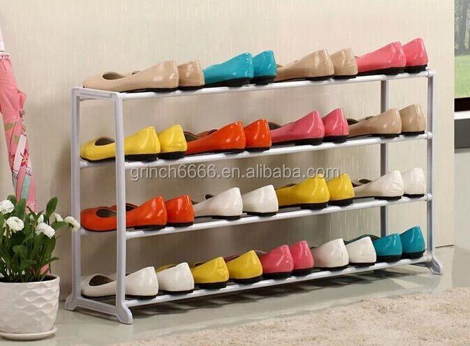 4 tier estante para zapatos zapatero zapatero de metal for Zapateras de metal