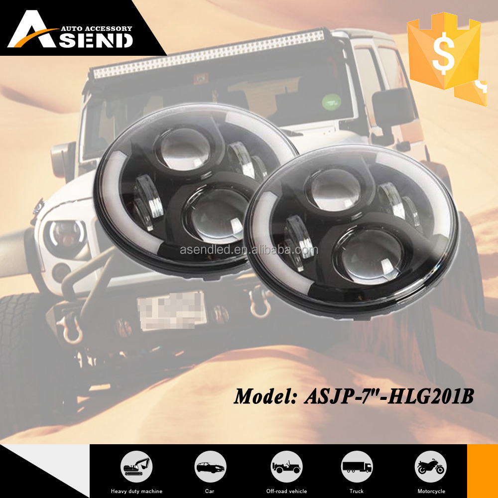60w 7inch round high low beam head light led Faro Led for Jeep Wrangler Sahara Rubicon Harley Fj