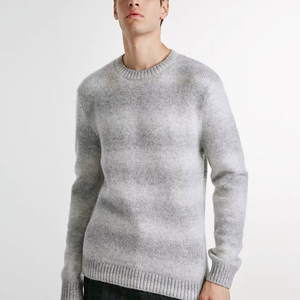 Latest Design Striped Wool Crewneck Men Knitwear