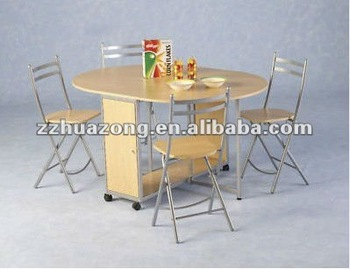 New Budget Butterfly Dining Table Set 4 Folding Chairs