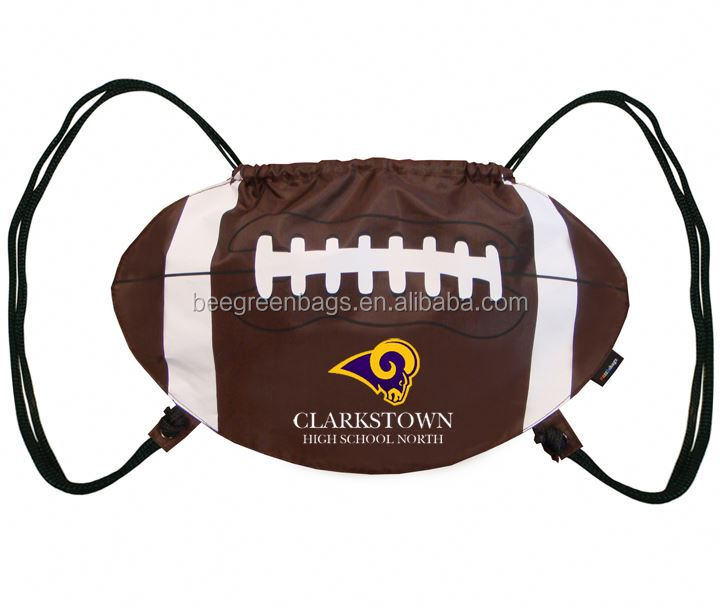 Attractive football shape drawstring sports sack drawstring sport bags for teens