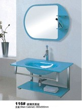 2014 Smart design blue glass bathroom vanity was made from tempered glass and stainless steel for bathroom