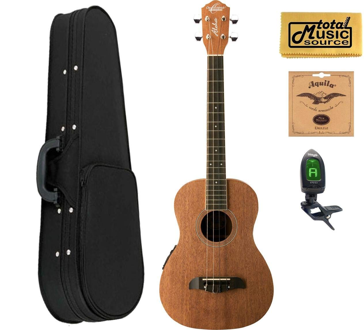 Oscar Schmidt OU52E Acoustic/Electric Baritone Ukulele w/ EQ, Soft Case,Tuner,Strings & PC, OU52E SCASE