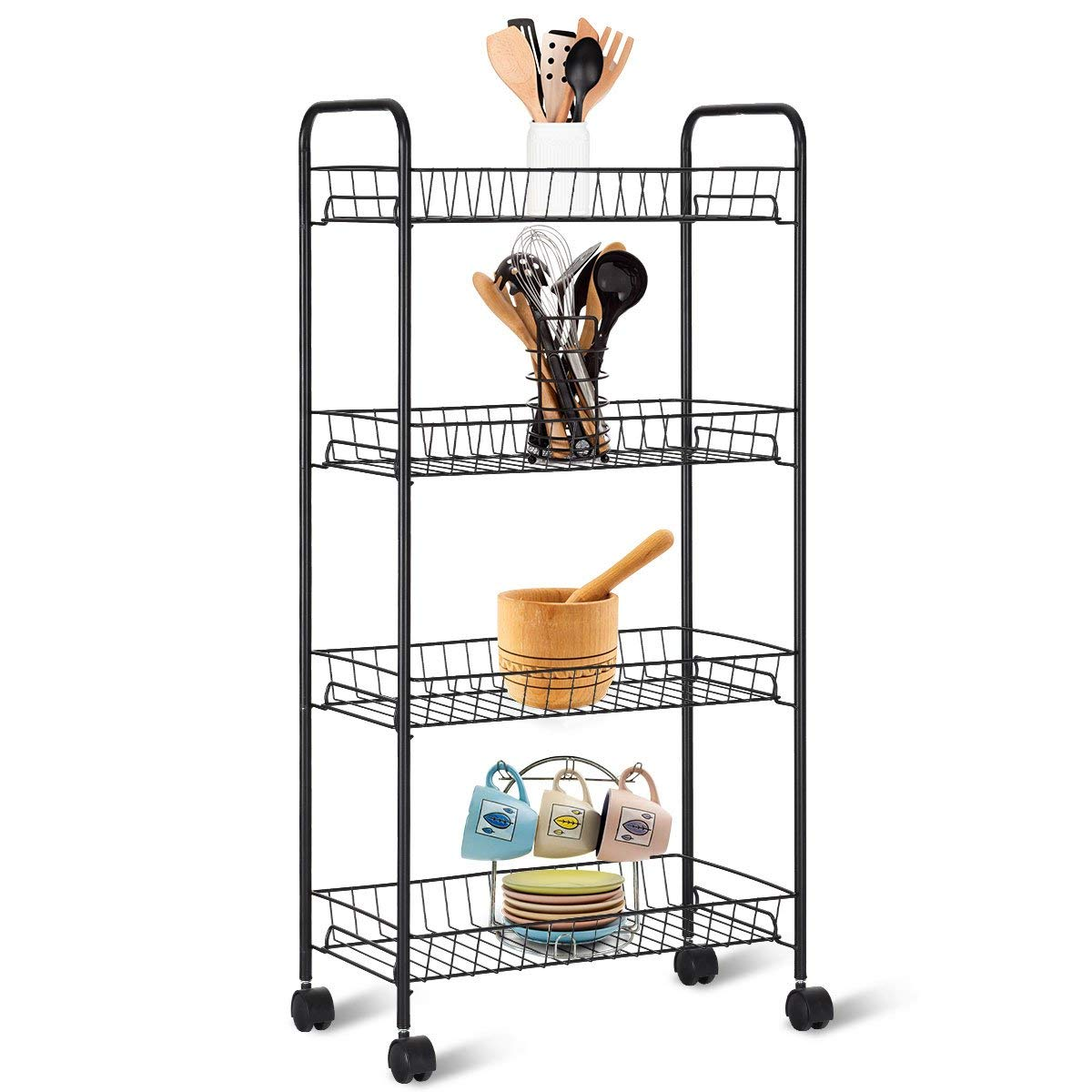 Giantex Kitchen Metal Utility Cart Rolling Wheels Shelving Tower Rack Mesh Wire Baskets Multifunctional Bathroom Kitchen Storage Unit Carts and Islands, Black (4 Tier)