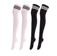 Black and White Stripe Japanese Style Women Thigh High Socks