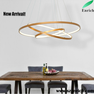 Modern Circular Led Chandelier Adjule Hanging Light Three Ring Collection Contemporary Ceiling Pendant